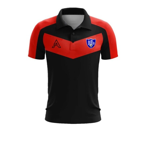 Custom Black and Red with Paneling Polo Shirt AFYM-4007