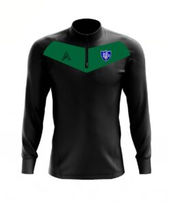 Custom Black with Green Center Panel Quarter Zip Top AFYM:3005