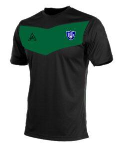 Custom Black with Green Center Panel T-Shirt AFYM:3009