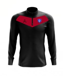 Custom Black with Red Center Panel Quarter Zip Top AFYM:3004
