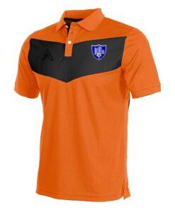 Custom Orange and Black with Center Panel Polo Shirt AFYM-4005
