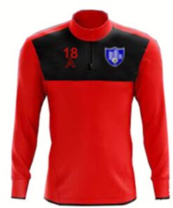 Custom Red with Black Center Panel Quarter Zip Top AFYM:3007