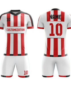 White and Red with Black Trimming Sublimation Soccer Kits AFYM:2008