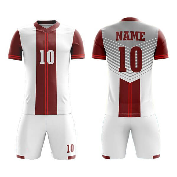 White Sublimation Soccer Kits with Red Trimming AFYM:2039
