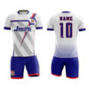 White and Blue with Center Trimming Sublimation Soccer Kits AFYM:2040