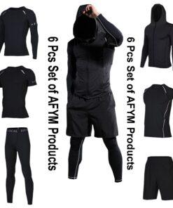 Men Running Fitness Sportswear of 6 Pcs Set