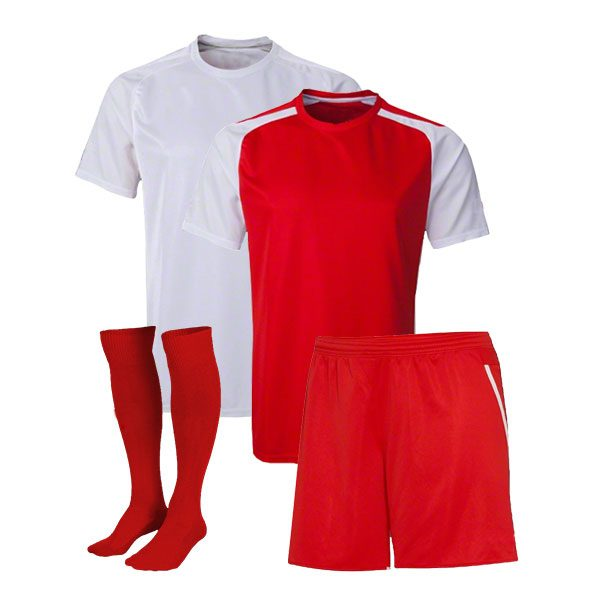 Red and White Reversible Sublimation Soccer Uniform