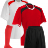 Red and White with Black Panel Reversible Sublimation Soccer Uniform