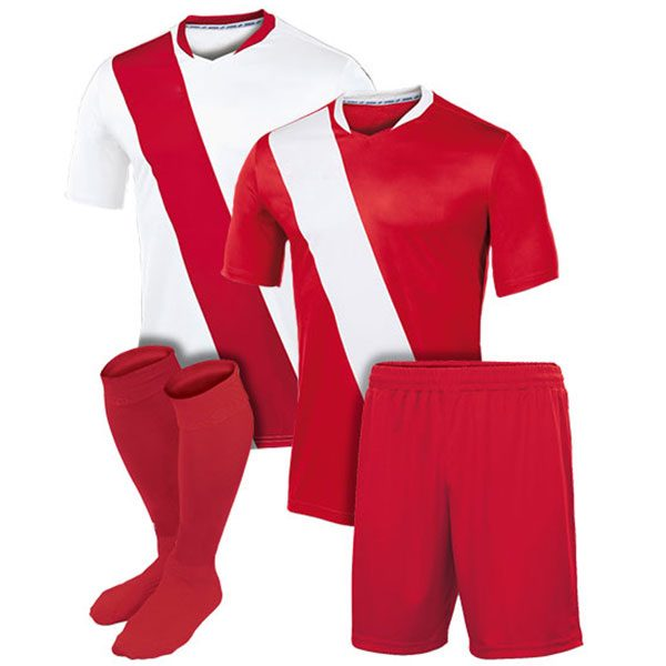 White and Red Reversible Sublimation Soccer Uniform