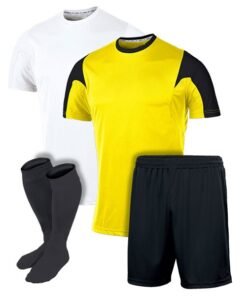 White and Yellow with Black Panel Reversible Sublimation Soccer Uniform
