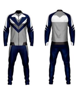 Blue Sublimation Tracksuits with Front and Back Trimming AFYM:1037