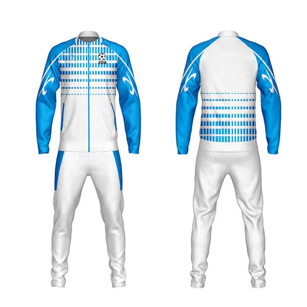 White with Blue Trimming Sublimation Tracksuits AFYM:1039
