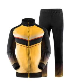 Yellow and Black with Trimming Art Sublimation Tracksuit AFYM:1047