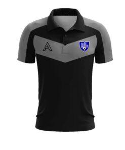 Custom Grey and Black with Paneling Polo Shirt AFYM-4008